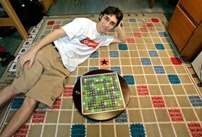 Scrabble Champ Jason enjoying popular SamTimer.com products in his MIT dorm room!