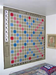 The scrabble rug makes great wall art. Photo submitted by Phyllis Koselke. Thanks Phyllis!