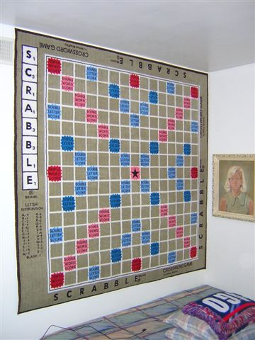 Scrabble Rug on wall.